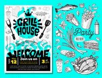 Плакат еды BBQ партии времени гриля Зажаренная еда, овощи рыб мяса жарит специю лимона креветок цыпленка ножа вилки прибора иллюстрация штока