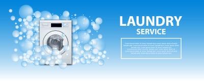 Плакат или знамя прачечной Предпосылка стиральной машины передняя нагружая с пузырями мыла реалистическая иллюстрация 3d Прачечна иллюстрация штока