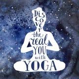 Плакат йоги с литерностью Иллюстрация штока