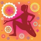 Плакат йоги с декоративными элементами цветка Стоковые Изображения RF