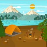 Плакат карточки лагеря лета шаржа туристский вектор бесплатная иллюстрация