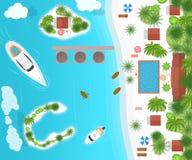 Плакат карты концепции каникул круиза лета мультфильма вектор иллюстрация штока