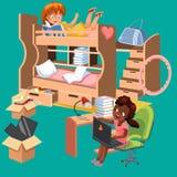 Плакат комнаты общей спальни девушек плоский Дизайн интерьера спальни с местом для работы для книг канцелярских принадлежностей л Стоковые Фото