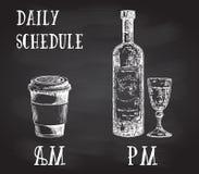 Плакат концепции вектора с выпивая привычками Кофе на утре и спирт в вечере Эскиз нарисованный рукой дальше иллюстрация вектора