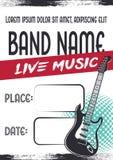Плакат концерта рок-музыки с электрической гитарой бесплатная иллюстрация