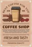 Плакат кофейни ретро, бумажный стаканчик бесплатная иллюстрация