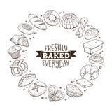 Плакат круга свежего хлеба бесплатная иллюстрация