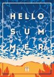 Плакат летнего отпуска и летнего лагеря Стоковые Изображения RF