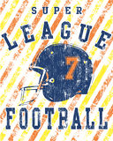 плакат лиги grunge футбола Стоковое Фото