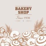 Плакат магазина хлебопекарни и шаблон знамени Нарисованные рукой товары хлебопекарни Бейгл, плюшки, круассаны, крендель и пшеница иллюстрация вектора
