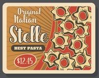 Плакат макаронных изделий Stelle ретро для итальянского блюда кухни иллюстрация вектора