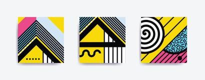 Плакат Мемфиса красочной тенденции нео геометрический Стоковая Фотография