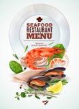 Плакат меню морепродуктов реалистический бесплатная иллюстрация