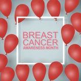 Плакат месяца осведомленности рака молочной железы с сияющими воздушными шарами на сером цвете Стоковые Изображения RF