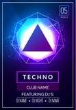 Плакат музыки Techno Музыка электронного клуба глубокая Музыкальный звук транса диско события Приглашение партии ночи Плакат рогу иллюстрация штока