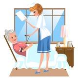 Плакат мультфильма старухи кладя в кровать на доме престарелых стоковое фото rf