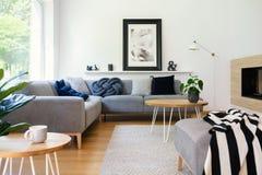 Плакат на белой стене в интерьере живущей комнаты с таблицей в фронте стоковая фотография rf