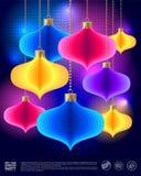 Плакат партии диско Нового Года 1 приглашение карточки Покрашенное украшение на темной предпосылке иллюстрация вектора