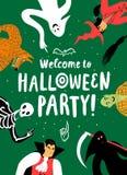 Плакат партии хеллоуина шаржа бесплатная иллюстрация