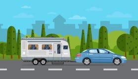 Плакат перемещения дороги с автомобилем и трейлером иллюстрация штока