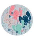 Плакат покрасил деревья открытки танцуя и окруженный цветками иллюстрация штока