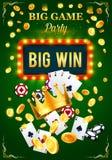 Плакат приглашения казино для партии игры азартных игр иллюстрация вектора