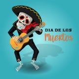 Плакат приглашения к дню мертвой партии Карточка Dea de los muertos при скелет играя гитару иллюстрация штока