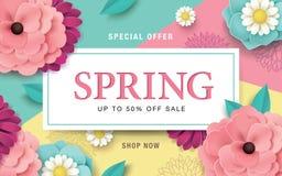 Плакат продажи весны иллюстрация вектора