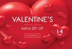 Плакат продажи дня валентинок Стоковое Изображение RF
