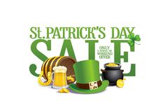Плакат продажи дня ` s St. Patrick Стоковые Фотографии RF