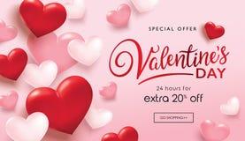 Плакат продажи дня Valentine's Стоковое Изображение