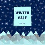 Плакат продажи зимы Предпосылка снежинок и гор Стоковое Фото