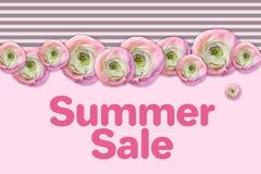 Плакат продажи лета Абстрактная флористическая поздравительная открытка Шаблон дизайна Origami ультрамодный Стоковое Изображение RF