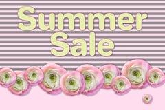 Плакат продажи лета Абстрактная флористическая поздравительная открытка Шаблон дизайна Origami ультрамодный Стоковое фото RF