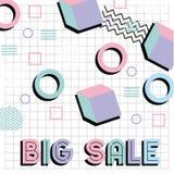 Плакат продвижения продажи картины стиля Мемфиса большой Стоковые Фото