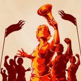 Плакат пропаганды кулака протеста толпы руководства женщин бесплатная иллюстрация