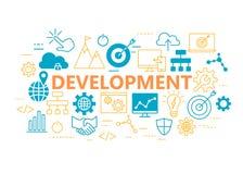 Плакат развития при плоские установленные значки Стоковое Изображение RF