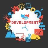 Плакат развития при установленные значки иллюстрация штока