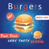 Плакат рекламы с очень вкусным бургером Стоковые Изображения RF