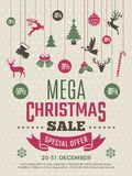 Плакат рождества для больших продаж Шаблон талона вектора скидок дел ваучера Нового Года бесплатная иллюстрация