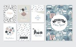 Плакат рождества и поздравительные открытки в ретро стиле Шарики рождества в пастельных цветах, ландшафте зимы и уютных домах иллюстрация вектора