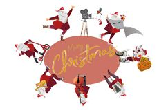 Плакат рождества с Санта Клаусом в старом городе приветствие рождества карточки иллюстрация штока