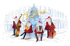 Плакат рождества с Санта Клаусом в старом городе иллюстрация вектора