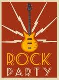 плакат рок-музыки Партия старой школы alien кот шаржа избегает вектор крыши иллюстрации Стоковое фото RF