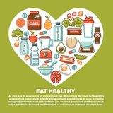 Плакат сердца еды фитнеса здоровый значков питания и пищевой добавки еды диеты спорта Стоковые Изображения