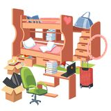 Плакат спальни студентов внутренний плоский красочный с двухъярусной кроватью с местом для работы ящиков для таблицы домашней раб Стоковая Фотография RF