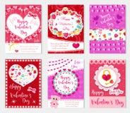 Плакат счастливого дня ` s валентинки установленный, приглашение, поздравительная открытка, предпосылка Шаблон собрания дня ` s в Стоковое фото RF