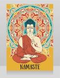 Плакат с Буддой в раздумье на красивом орнаменте мандалы