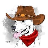 Плакат с изображением собаки в ковбойской шляпе также вектор иллюстрации притяжки corel Стоковое Фото