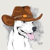 Плакат с изображением собаки в ковбойской шляпе также вектор иллюстрации притяжки corel Стоковые Фото